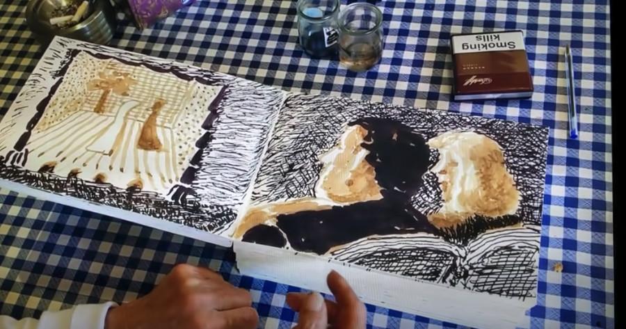 Plongez dans l'esprit de David Hockney, à travers son carnet de croquis