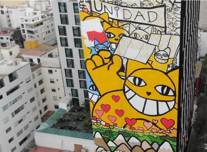 """""""Monsieur Chat"""" s'invite sur les murs de Lima, au Pérou"""