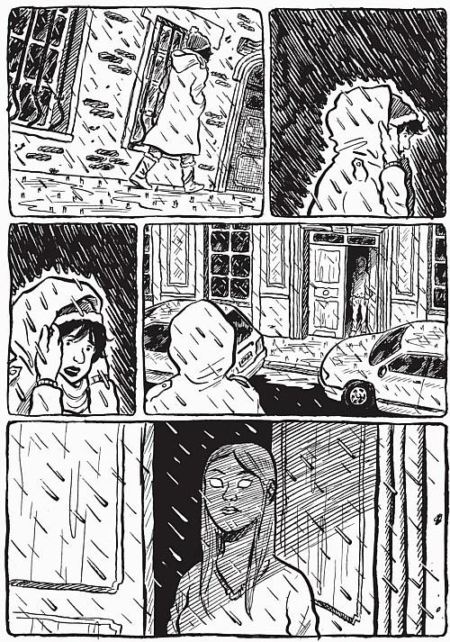 La rue sous la pluie, avec Iba