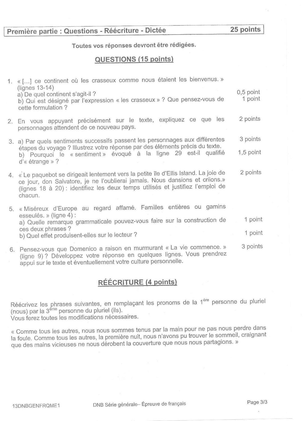 Brevet Des Colleges 2013 Sujet Et Corrige De L Epreuve De Francais